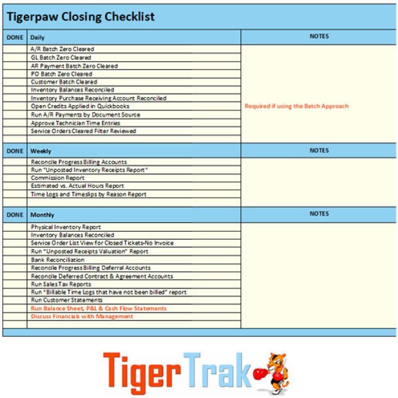 Accounting Closing Checklist